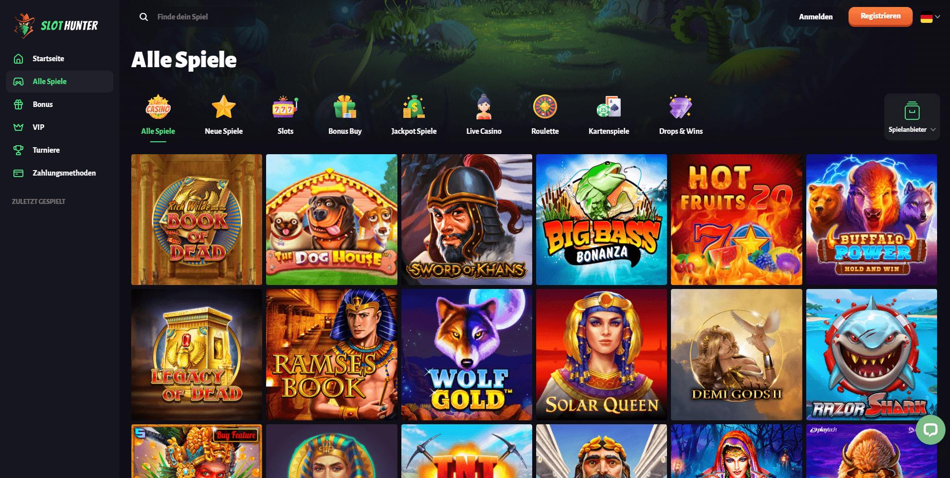 Slothunter Casino Auswahl an Spielen